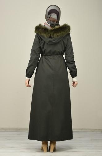 Hooded Long Coat 4042-07 Dark Khaki 4042-07