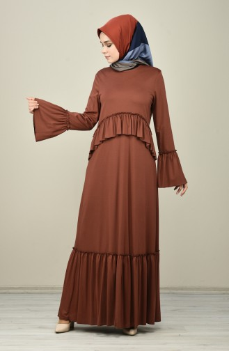 Pleated Dress Brown 8086-05