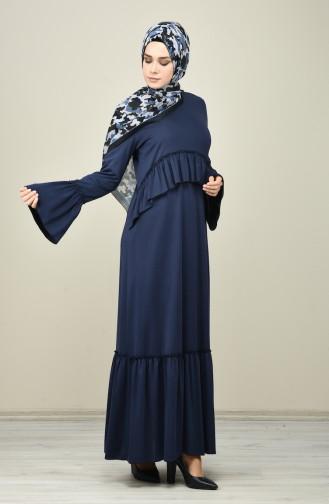 Pleated Dress Navy Blue 8038-04