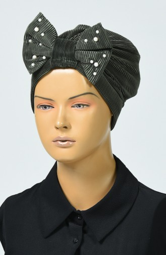Beaded Bow Bonnet Khaki 7003-02
