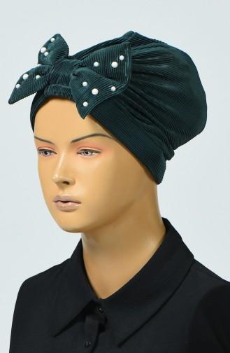 Beaded Bow Bonnet Emerald Green 7003-12