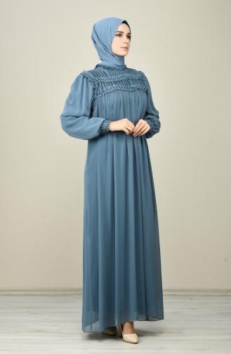 Draped Chiffon Evening Dress Indigo 8127-06