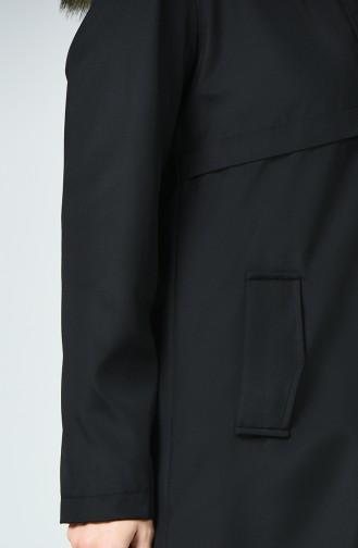 Astarlı Kapüşonlu Mont 0052-01 Siyah