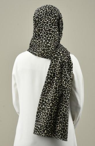 Patterned Cotton Shawl Khaki 5497-04