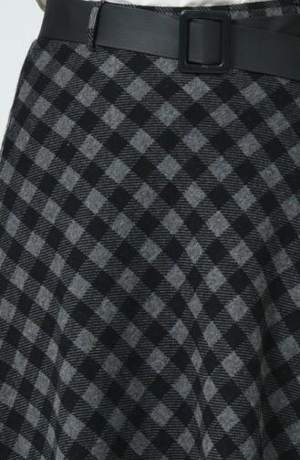 Kemerli Ekose Kareli Etek 5310C-01 Siyah
