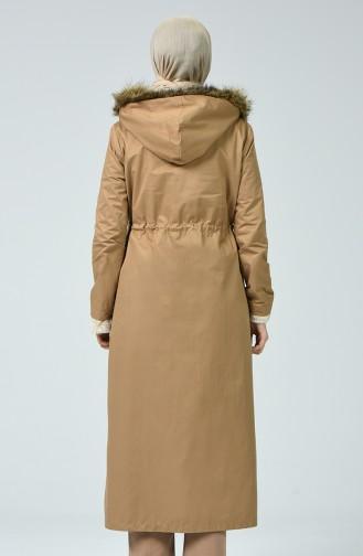 معطف طويل عسلي 6837-03