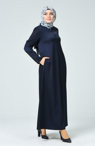 Abaya a Fermeture Grande Taille 0100-01 Bleu Marine Foncé 0100-01