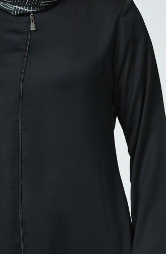 عباءة جينز بتصميم سحاب بمقاسات كبيرة 0100-02 لون اسود 0100-02