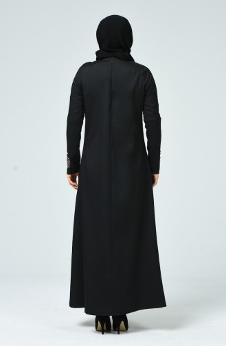 فستان بتصميم مُطبع بأحجار لامعة و بمقاسات كبيرة 0013-01 لون أسود 0013-01