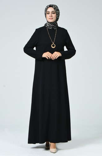 Aerobin Kumaş Kolyeli Elbise 0053-01 Siyah