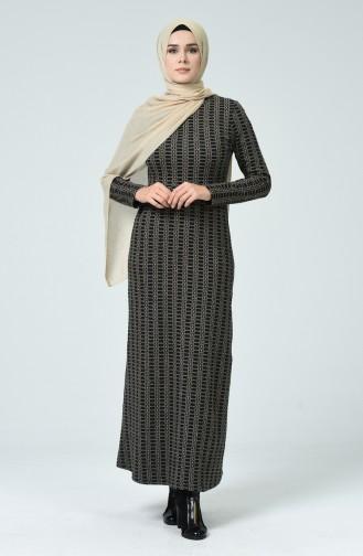 Robe D hiver à Motifs 7002-01 Noir Vison 7002-01