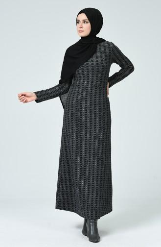 Gemustertes Winterliches Kleid 7002-02 Schwarz Grau 7002-02