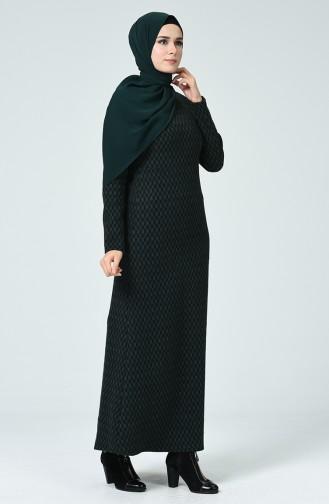 Robe D hiver à Motifs 7002A-02 Noir  Vert émeraude  7002A-02