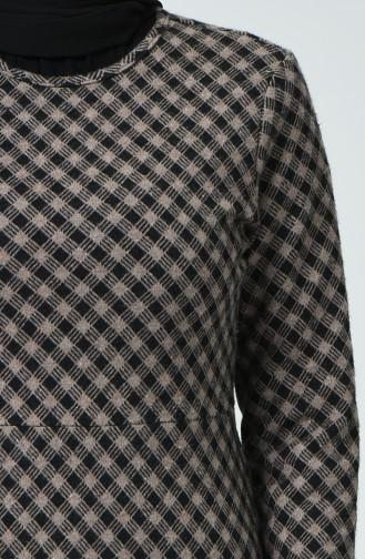 Robe D hiver à Motifs 7002B-01 Noir Vison 7002B-01