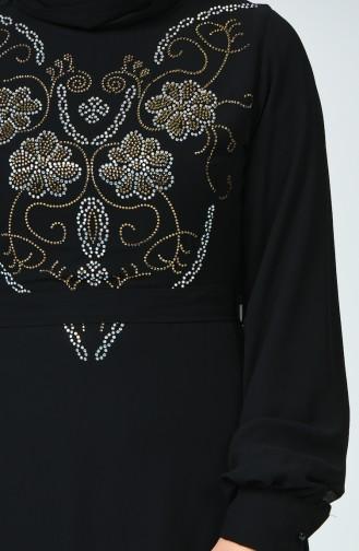 Taş Baskılı Elbise 17PT112-02 Siyah