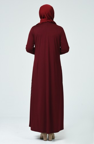 Claret red İslamitische Jurk 1138-03
