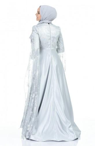 Grau Hijab-Abendkleider 5035-02