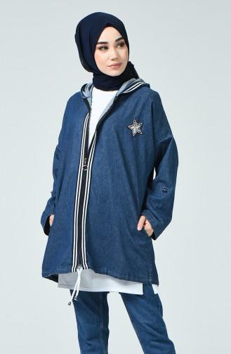 Veste en Jean à rayures 2273-01 Bleu Marine 2273-01