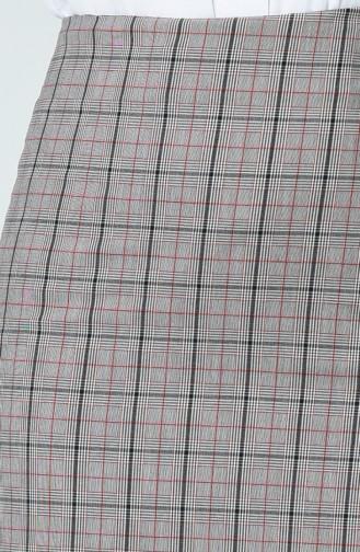 Ekose Desenli Kalem Etek 2057-01 Gri Kırmızı