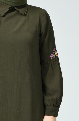 تونيك بتفاصيل مُطرزة و بمقاسات كبيرة 1649-03 لون أخضر كاكي 1649-03