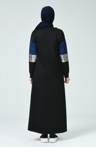 Dunkelblau Hijap Kleider 4056-03