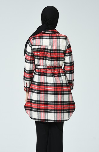 Oduncu Gömlek Tunik 5285-01 Siyah Kırmızı