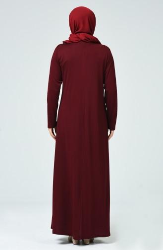 Claret red İslamitische Jurk 1132-07