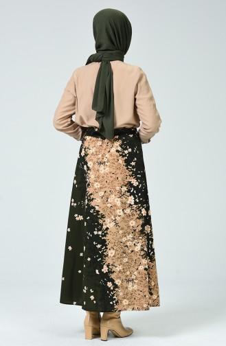 Patterned Belt Skirt Khaki 1020-01
