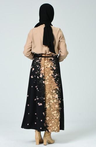 تنورة منقوشة مع حزام أسود 1020-02