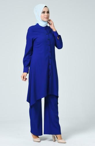 Ensemble Deux Pieces Tunique Pantalon 1206-04 Bleu Roi 1206-04