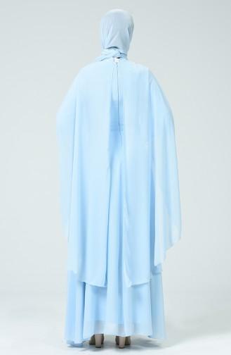Dantelli Abiye Elbise 5220-01 Buz Mavisi