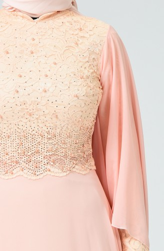 Lachsrosa Hijab-Abendkleider 5220-05
