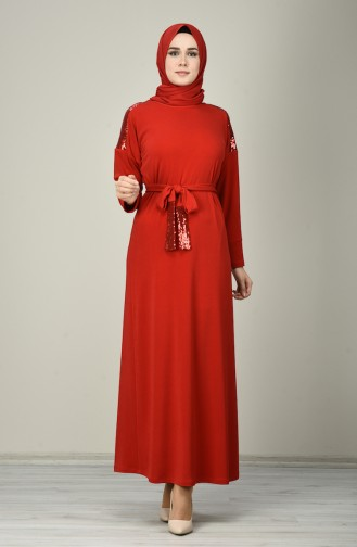 Payetli Kuşaklı Elbise 8136-02 Kırmızı