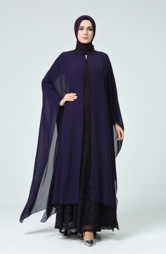 فساتين سهرة بتصميم اسلامي أرجواني 1009-03