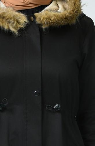 Kürk Astarlı Kaban 6837-01 Siyah