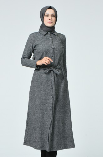 Abayas Col Chemise 0024-02 Gris 0024-02
