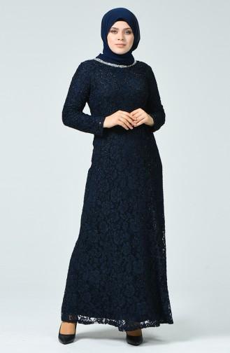 Büyük Beden Abiye Elbise 2055-05 Lacivert 2055-05