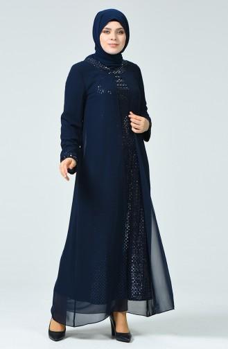 Navy Blue İslamitische Avondjurk 4747-01