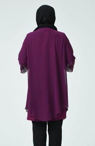 Büyük Beden Taş Baskılı Bluz 2222-01 Mor 2222-01