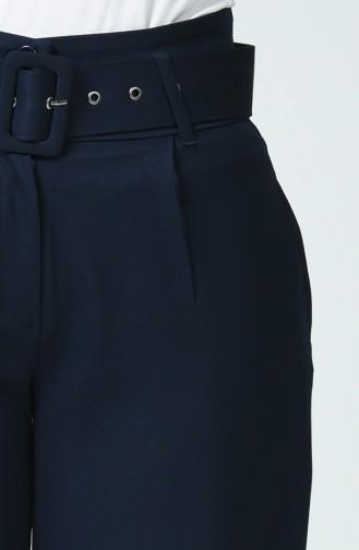 Pantalon à Ceinture 3146-01 Bleu Marine 3146-01