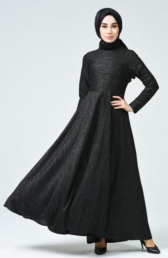 Simli Elbise 4267-01 Siyah
