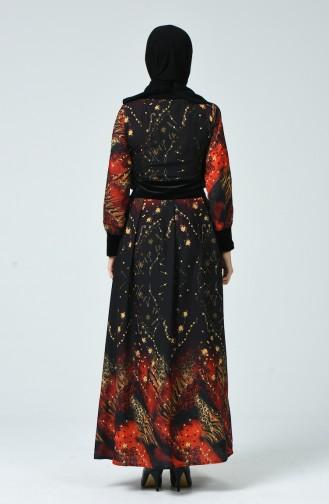 Robe à Motifs 1645-01 Noir Orange 1645-01