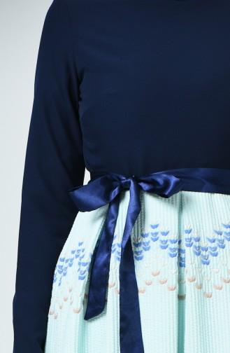 Robe  à Motifs 3950-04 Bleu Marine Vert Menthe 3950-04