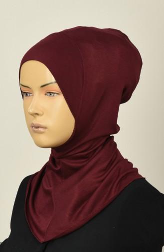 Gekämmte Hijab-Bonnet 13142-13 Weinrot 13142-13