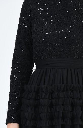 Robe de Soirée en Tulle Détail Paillettes 52770-06 Noir 52770-06