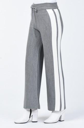 Şeritli Triko Bol Paça Pantolon 4194-02 Gri