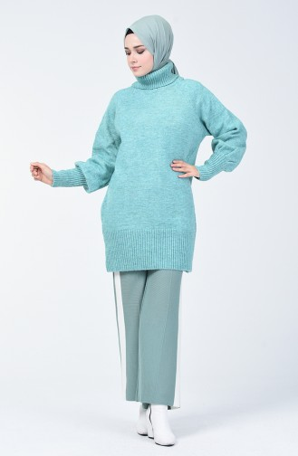 Şeritli Triko Bol Paça Pantolon 4194-03 Çağla Yeşili