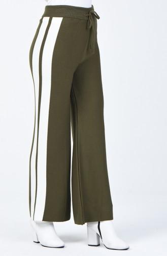 Şeritli Triko Bol Paça Pantolon 4194-04 Haki