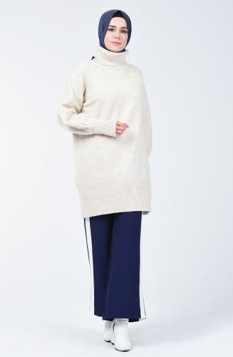 Pantalon Large Tricot à Rayures 4194-05 Bleu Marine 4194-05