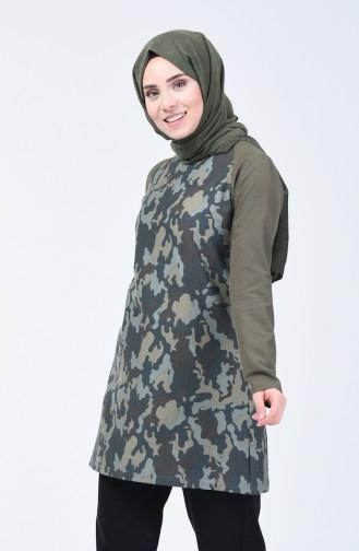 Tunique à Motifs Camouflage  3131-01 Khaki 3131-01